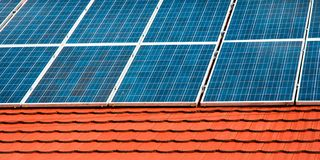 Cells of solar energy panels Royalty Free Stock Image
