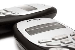 celltelefoner kopplar samman Arkivfoto