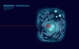 Cellula animale microscopica Ingegneria OMG modificata di terapia genica della cellula umana Vettore rosso d'ardore blu scuro del royalty illustrazione gratis