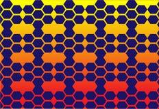 Cellula dell'ape di giallo del fondo di esagono variopinta illustrazione di stock