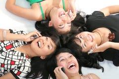 Cellular addict. On white background high angle Stock Photos