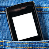 Cellular in jeans pocket Royalty Free Stock Images