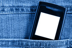 Cellular in jeans pocket Stock Photos