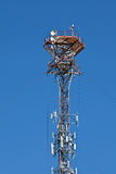 Cellular mobile radio transmission pole tower Royalty Free Stock Photo