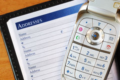 Cellular phone with an address book Stock Image