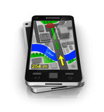 Cellular phone as GPS navigator. My own design Royalty Free Stock Photos