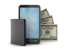 Cellular phone, bank notes and leather wallet Royalty Free Stock Photos