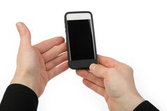 Cellular phone in two hands, isolated on white Royalty Free Stock Photo