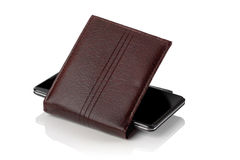 Cellular phone and  wallet Stock Photography