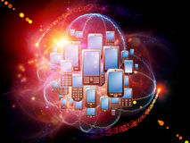 Cellular Phone World. Rendering of cellular phones and abstract design elements on the subject of phone technology, cellular communication and modern electronic stock illustration