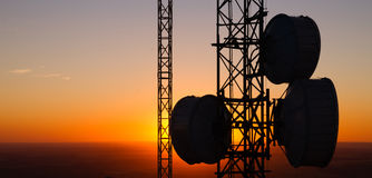 Cellular Radio Wave Communication Towers Evening Sunset Horizon Stock Image