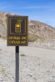 Cellular signal road sign at El Alcazar pass on ruta 40, Argenti Royalty Free Stock Photo