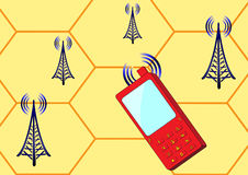 Cellular telephone. And radio stations send signals to each other vector illustration