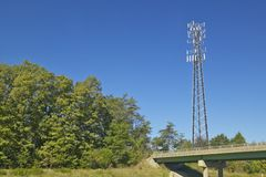 Cellular telephone transmission tower, Route 95 Virginia royalty free stock images