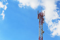 Cellular tower in blue sky Stock Photo