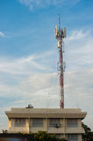 Cellular Tower. Communication antenna on Blue Sky Stock Photos