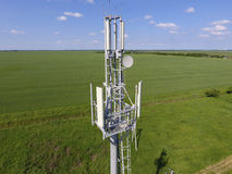 Cellular tower. Equipment for relaying cellular and mobile signal Royalty Free Stock Images