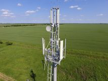 Cellular tower. Equipment for relaying cellular and mobile signa Stock Photo