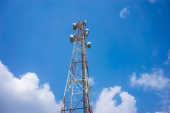 Cellular tower sky background. Stock Photo