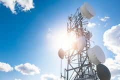 Cellular Tower in the Sun Royalty Free Stock Images