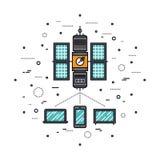 Cellular transmission line style illustration. Thin line flat design of LTE cellular transmission based on satellite communication system, global network service stock illustration