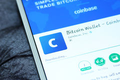 Cellulare app del portafoglio del bitcoin di Coinbase immagine stock