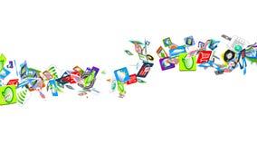 Cellulare App di molte applicazioni mobili che ondeggiano sulle onde Fotografia Stock Libera da Diritti