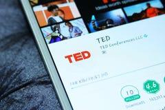 Cellulare app di TED Talks Fotografia Stock