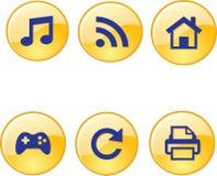 Cellulare, audio, giochi, stampa, casa, icone della ricarica Fotografia Stock Libera da Diritti