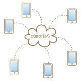 Cellulare che accede al sistema informatico della nuvola Fotografia Stock Libera da Diritti