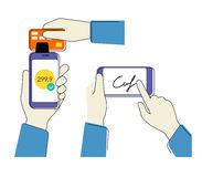 Cellulare che acquista con la firma Fotografia Stock Libera da Diritti