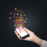 Cellulare con il simbolo del email Fotografia Stock Libera da Diritti