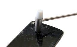 Cellulare con lo schermo schiantato Fotografie Stock