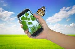 Cellulare della tenuta della mano Fotografie Stock