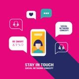 Cellulare dello Smart Phone con l'icona ed i fumetti dell'utente Immagine Stock
