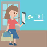 Cellulare e compressa di uso della gente illustrazione di stock