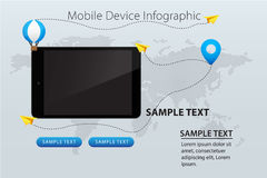 Cellulare e dispositivo su Gray Color Wold Map Background con l'aereo ed i palloni di carta gialli Immagini Stock