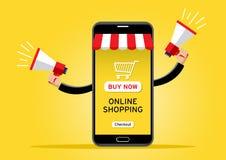 Cellulare gigante che vende le merci con l'altoparlante royalty illustrazione gratis