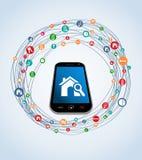 Cellulare stabilito dell'icona del bene immobile Fotografie Stock