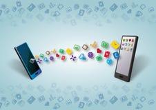 Cellulars smartphones i Zawartości Przeniesienie Dane Zdjęcia Stock