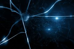 Cellule abstraite conceptuelle de neurone dans le cerveau illustration stock