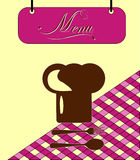 Cellule de menu de Bourgogne de signe avec le chapeau de chef. Vecteur Photo stock