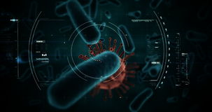 Cellule de virus et cellules de bactéries produites par Digital sur le fond noir illustration stock