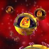 Cellule di HIV - nella circolazione sanguigna illustrazione vettoriale