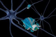 Cellule du cerveau et nanorbots 3d rendent Photos stock