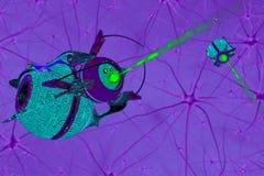 Cellule du cerveau et nanorbots 3d rendent Photographie stock libre de droits