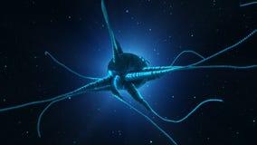 Cellule rougeoyante de neurone sur le fond vert abstrait Santé a de cerveau illustration de vecteur