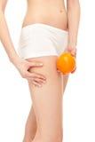 Cellulite em coxas das fêmeas Foto de Stock Royalty Free