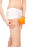 Cellulite on females thighs Royalty Free Stock Photo