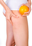 Cellulite skin at woman buttocks Stock Images